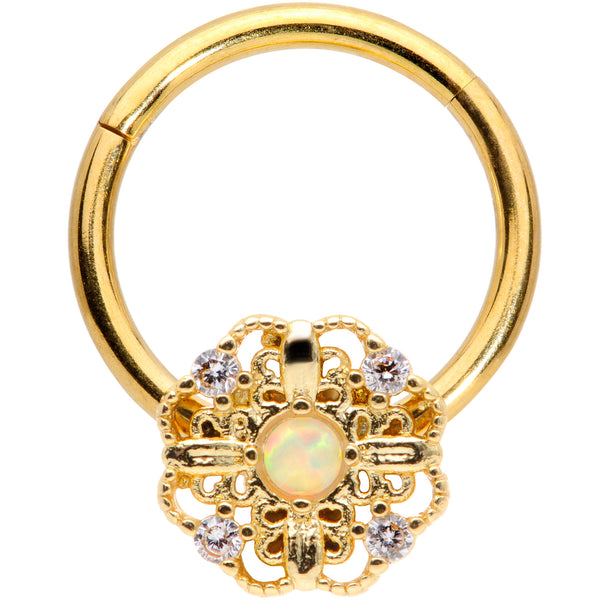 16 Gauge 3/8 White Synthetic Opal Gold Tone Flower Hinged Segment Ring
