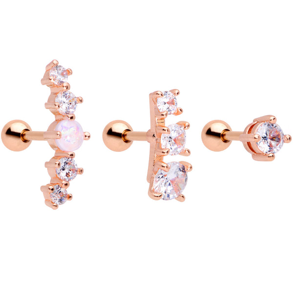 16 Gauge 1/4 Clear CZ Rose Gold PVD Internally Threaded Tragus Set