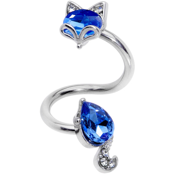 Clear Blue CZ Gem Foxy Fox Spiral Twister Belly Ring