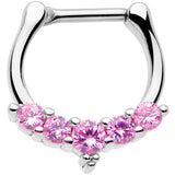 16 Gauge 3/8 Pink CZ Gem Blaze Cartilage Clicker