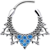 16 Gauge 3/8 Aqua CZ Gem Triangle Ornate Septum Clicker