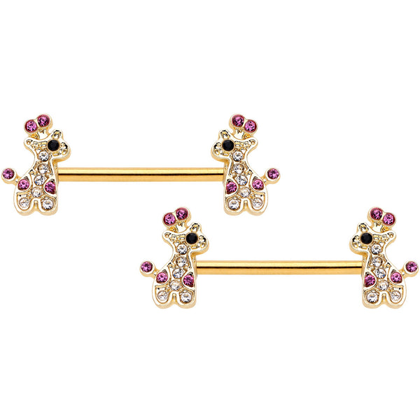 14 Gauge Clear Pink Gem Giraffe Gold Tone UV Horseshoe Nipple Ring Set