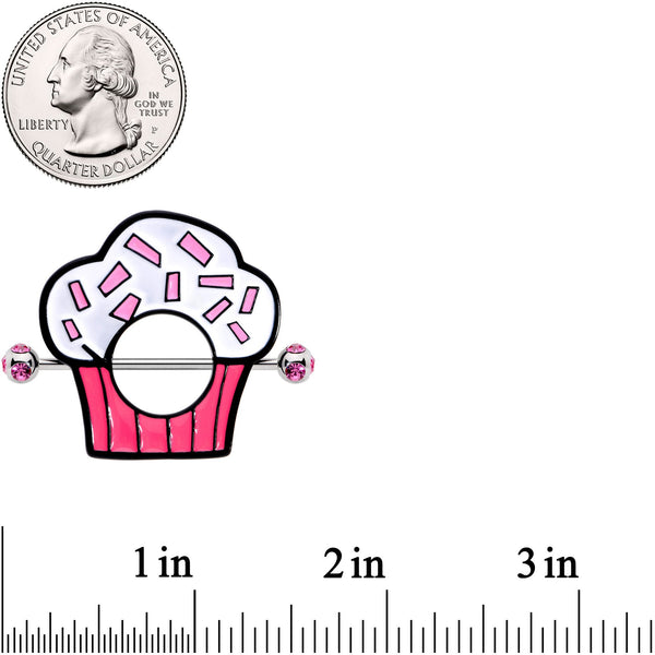 14 Gauge 33mm Pink Gem Sprinkle Cupcake Nipple Shield Set