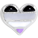 16 Gauge 1/4 Asexual Pride Heart Cartilage Tragus Earring