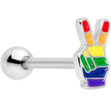Gay Pride Rainbow Hand Peace Sign Barbell Tongue Ring