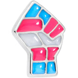 Pink White Blue Transgender Pride Fist Barbell Tongue Ring