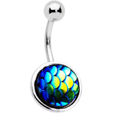Blue Gem Blue Green Mermaid Scale Belly Ring Set of 3