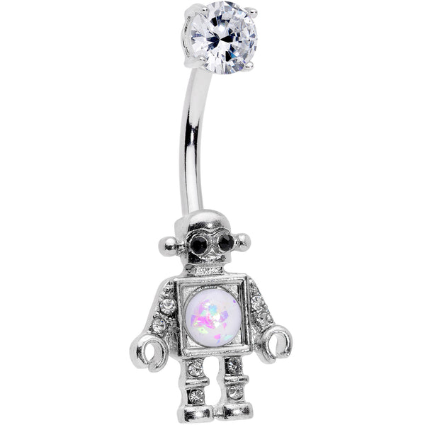 Clear Gem White Faux Opal Rockin Robot Belly Ring