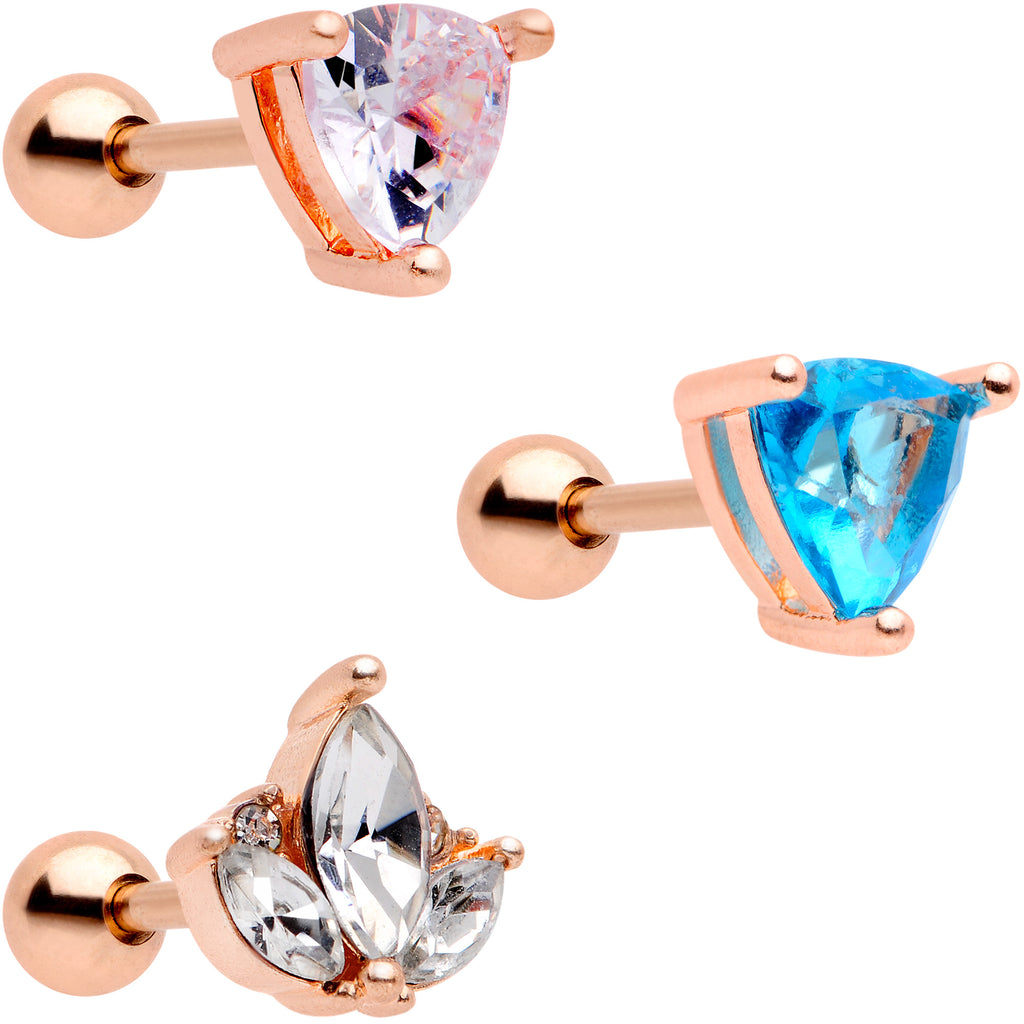 832921e1fb4 16 Gauge 1/4 Blue CZ Gem Rose Gold Tone Cartilage Tragus Set of 3