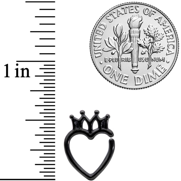 16 Gauge 5/16 Black Royal Crown Heart Right Ear Closure Ring