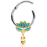 16 Gauge 3/8 Southwestern Lotus Flower Dangle Hinged Segment Ring