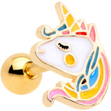 16 Gauge 1/4 Gold Tone Pastel Unicorn Cartilage Tragus Earring