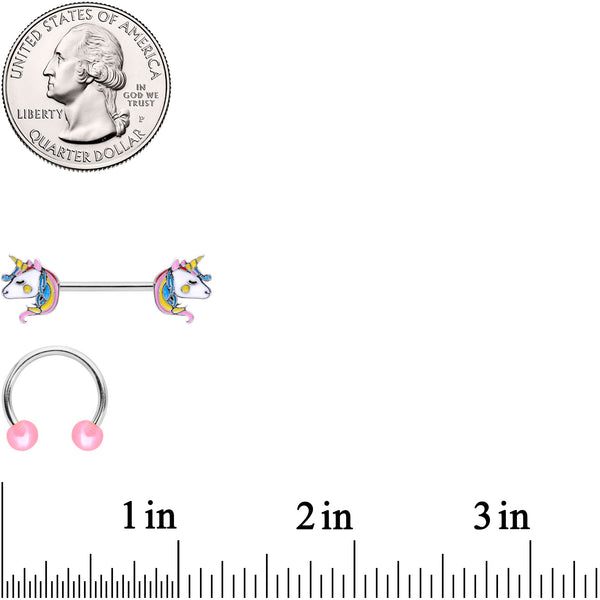 14 Gauge Pastel Unicorn UV Horseshoe Barbell Nipple Ring Set of 4