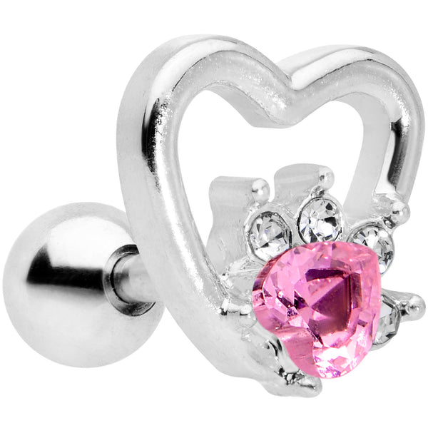 16 Gauge 1/4 Pink Gem Rose Flower Hollow Heart Cartilage Tragus