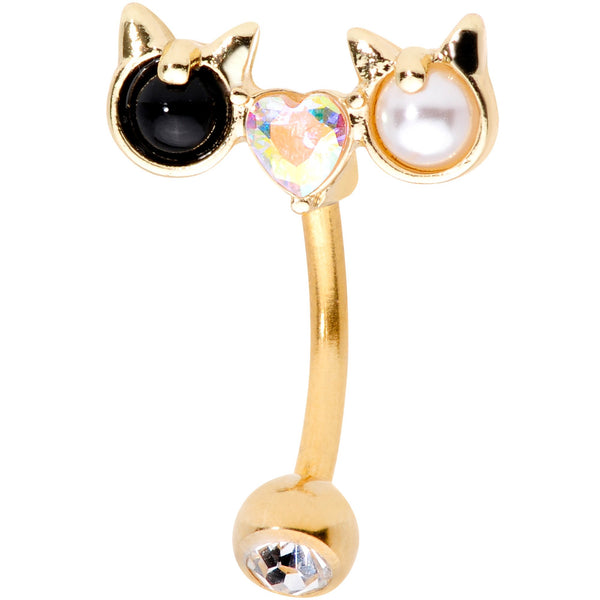 Clear Black CZ Gem Gold Tone Luv Kitty Cat Reversible Belly Ring