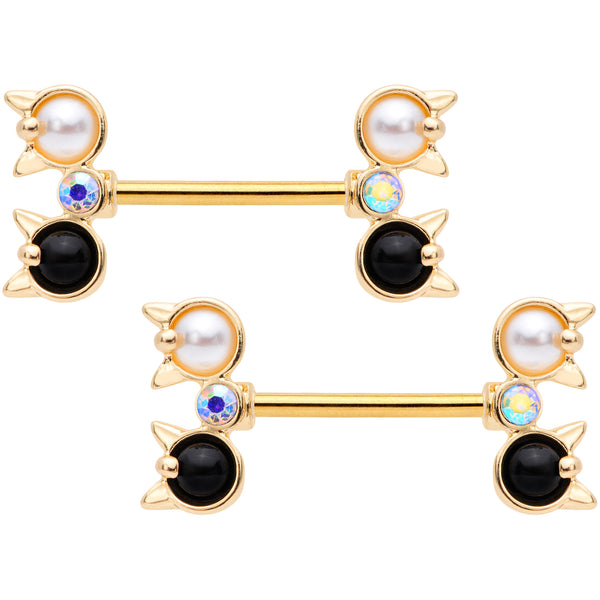 14 Gauge Black White CZ Gem Gold Tone Kitty Cat Barbell Nipple Ring Set