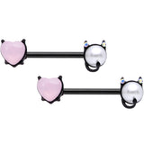 14 Gauge 9/16 Pink Gem Black Devil Heart Love Barbell Nipple Ring Set