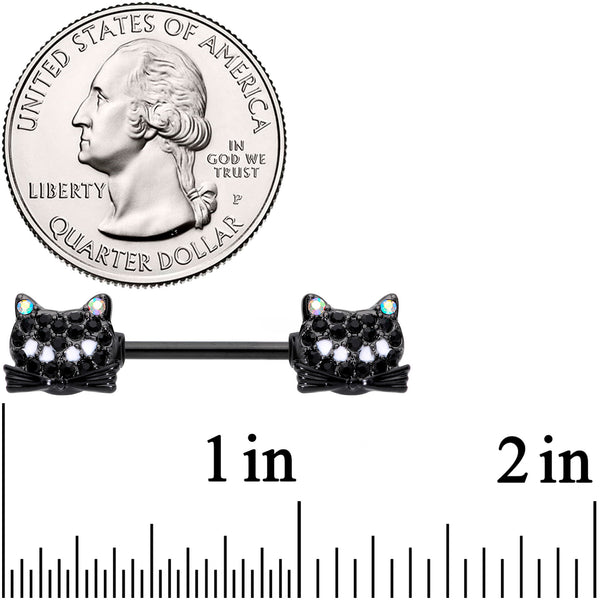14 Gauge 9/16 Black Aurora Gem Crafty Kitty Cat Barbell Nipple Ring Set
