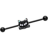 14 Gauge Black Aurora Gem Black Cat Industrial Barbell 38mm