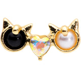 16 Gauge 1/4 Black White CZ Gem Gold Tone Kitty Cat Luv Cartilage Tragus
