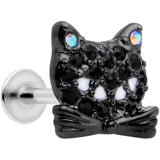 16 Gauge 5/16 Black Aurora Gem Crafty Kitty Cat Labret Monroe Tragus
