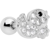16 Gauge 1/4 Clear Black CZ Gem Ducky Cartilage Tragus Earring