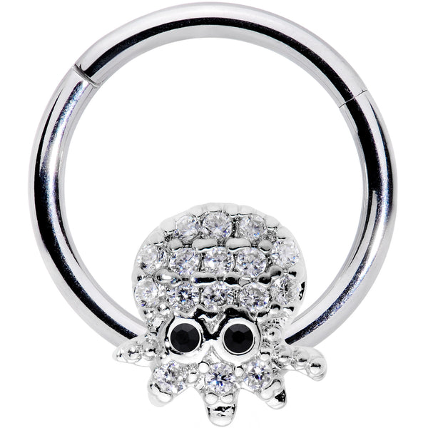 16 Gauge 5/16 Clear Black CZ Gem Nautical Octopus Hinged Segment Ring