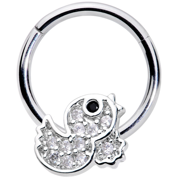 16 Gauge 5/16 Clear Black CZ Gem Ducky Hinged Segment Ring