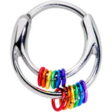 16 Gauge 3/8 Double Rainbow Gay Pride Septum Clicker