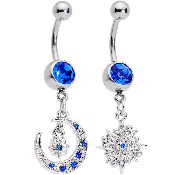 Blue Gem Compass Star Crescent Moon Dangle Belly Ring Set of 2