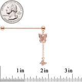 14 Gauge Clear Gem Rose Gold Tone Butterfly Dangle Industrial Barbell