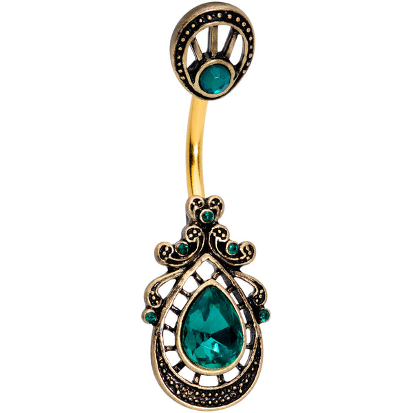 Green Gem Gold Tone Filigree Rococo Reversible Belly Ring