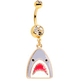 Clear Gem Gold Tone Shark Attack Dangle Belly Ring