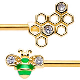 14 Gauge 9/16 Clear Gem Gold Tone Green Bee Barbell Nipple Ring Set