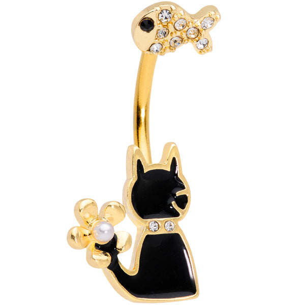 Clear Gem Gold Tone Cat Fishing Black Cat Double Mount Belly Ring