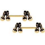 14 Gauge 9/16 Gold Tone Boxing Gloves Barbell Nipple Ring Set