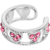 Pink Gem Ring of Hearts Non Pierced Ear Cuff