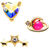 16 Gauge 5/16 Pink Faux Opal Gold Tone Heart Labret Tragus Set of 3