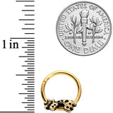 16 Gauge 3/8  Gold Tone Happy Giraffe Hinged Segment Ring