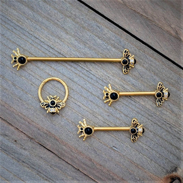 14 Gauge Clear Black Gem Gold Tone Bug Out Bee Insect Industrial Barbell 38mm