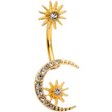 Clear Gem Gold Tone Crescent Moon Stars Double Mount Belly Ring