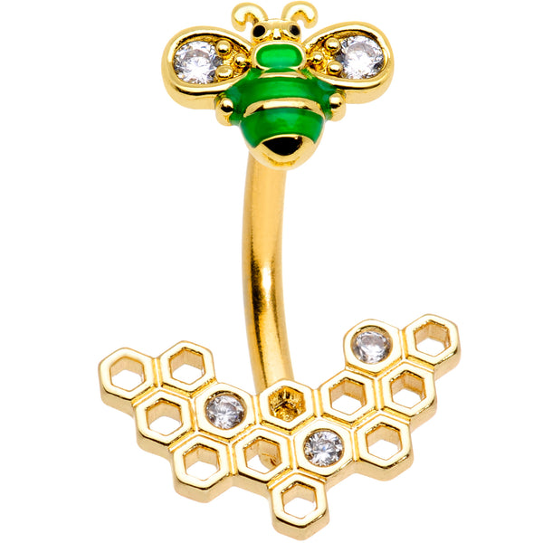 Clear Gem Gold Tone Green Bee Double Mount Belly Ring
