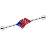 14 Gauge Red White Blue USA American Flag Industrial Barbell 38mm