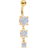 White Gem Gold Tone Triple Drop Dangle Belly Ring