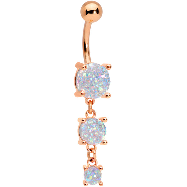 White Gem Rose Gold Tone Triple Drop Dangle Belly Ring