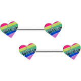 14 Gauge 5/8 Rainbow Embrace Pride Heart Barbell Nipple Ring Set