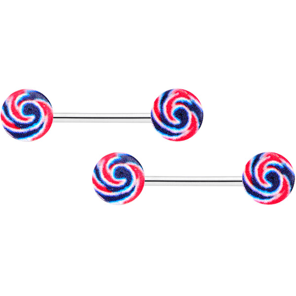 14 Gauge 9/16 Red Blue Candy Swirl Barbell Nipple Ring Set