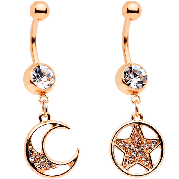 Clear Gem Rose Gold Tone Magic Moon Star Dangle Belly Ring Set of 2
