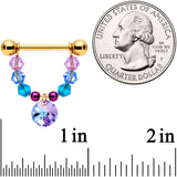 14 Gauge 5/8 Blue Purple Gem Gold Tone Disc Nipple Ring Set