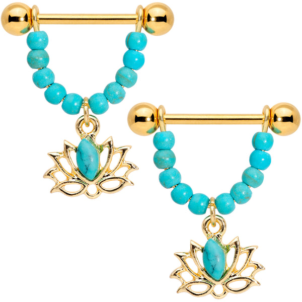 14 Gauge 5/8 Faux Turquoise Gold Tone Lotus Flower Dangle Nipple Ring Set